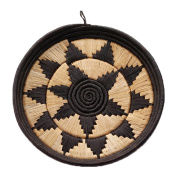 African Basket Round Display Tray Lavishly Hand Woven Black Raffia Natural Grass w Banana Fibre
