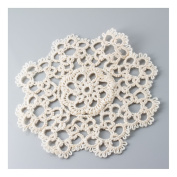 Handmade All-over Tatting Lace Crochet Doily. 100% Cotton Knitted. Ecru, 10cm Round. 12 Pieces