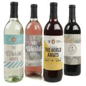 World Awaits - Travel Theme Wine Bottle Labels - Set of 4