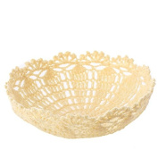 Handcrafted Ivory Stiffened Doily Basket for Home Decor, Crafting and Creating