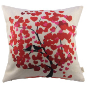HOSL Decorative Couple Throw Pillow Cover Cushion Case Couple Pillow Case Life Tree Red for Auto Seat