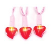 20ct Red Valentine Heart Light Set on Pink Cord