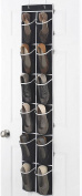 """Zober Narrow Over the Door Shoe Organiser with 12 Mesh Pockets, Over the Door Organiser Great for Accessories, Toiletries, Laundry Items, Black with White Trim. 12"""" x 57 ½"""""""