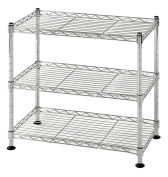 Muscle Rack WS181018-C Steel Adjustable Wire Shelving, 46cm H x 46cm W x 25cm , 120kg Capacity, 3 Shelves, Chrome , 46cm Height, 46cm width, 120kg Load Capacity