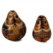 Two Sitting Gourd Hand Carved Owl Pair Couple Artisan Fair Trade Peru Ornament