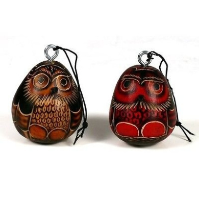 Set of Two Fine Gourd Hand Carved Owl Pair Christmas Ornaments Fair Trade Peru