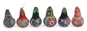 Six Primavera Hand Carved Gourd Ornament Assorted Decorative Floral Holiday Mix