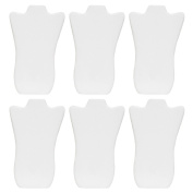 Mooca 6 Pieces White Faux Leather Cover MDF Wood with Sturdy Cardboard Easel Necklace Display 22cm W x 36cm H