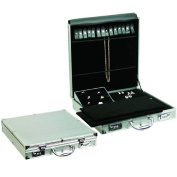 Mooca Silver Aluminium Portable Large Jewellery Display Case Box Organiser for Necklaces, Bracelets, Rings
