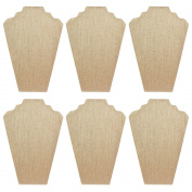 Mooca 6 Pieces Linen Cover MDF Wood with Sturdy Cardboard Easel Necklace Display 21cm W x 32cm H
