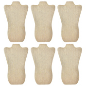 Mooca 6 Pieces Linen Cover MDF Wood with Sturdy Cardboard Easel Necklace Display 22cm W x 36cm H