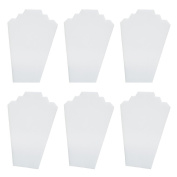Mooca 6 Pieces White Faux Leather Cover MDF Wood with Sturdy Cardboard Easel Necklace Display 21cm W x 32cm H