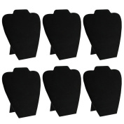 Mooca 6 Pieces Black Velvet Cover MDF Wood with Sturdy Cardboard Easel Necklace Display 19cm W x 22cm H