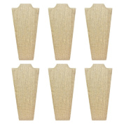 Mooca 6 Pieces Linen Cover MDF Wood with Sturdy Cardboard Easel Necklace Display 11cm W x 23cm H