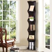 Yaheetech 5 Shelves Brown Round Corner Shelf Skinny Display Rack Casual Home Office Furniture