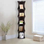 go2buy 5 Tier Wood Round Wall Corner Shelf Slim Bookshelf/Bookcase Tall Display Rack