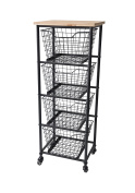 Cheung's FP-4307 Rattan Imports 4 Wire Drawer Wood Top Storage Cabinet