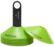 Wacces Agility Disc Cones with Transportaion Caddy Perfect for Soccer, Football Training & More- Pack of 25
