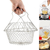 Teanfa New Foldable Stainless Steel Steam Rinse Strain Fry Cooking Chef Basket Mesh Net Strainer Colander Kitchen Tool
