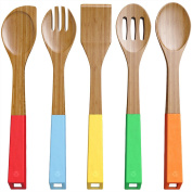 Vremi Bamboo Wooden Spoons and Cooking Utensils - 5 Piece Antimicrobial Kitchen Basics Set with Spatula Forked Serving and Mixing Spoon - Colourful Silicone Handles and Hanging Holes