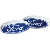 Collectible Handpainted Ceramic Oval Ford Logo Salt And Pepper Shakers Set