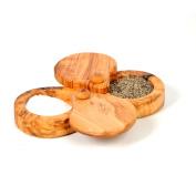 Beldinest Double Salt Keeper, Handmade From Olive Wood 2 Compartment Salt Box