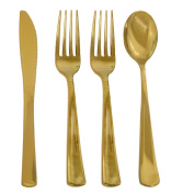 200 Piece Gold Cutlery Set For 50 Guest, Elegant And Disposable Gold 24K Look Flatware. Pack Includes 200 Pieces Of Gold Cutlery 100 Gold Forks, 50 Gold Spoons, And 50 Gold Knives.