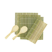 BambooMN Brand - 4x Green Bamboo Sushi Rolling Mats - 24cm x 24cm + 2x Rice Paddle -