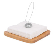 Internet's Best Semi Flat Bamboo Napkin Holder with Stainless Steel Ball Weight and Wire Line, 20cm