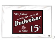 Budweiser 15 Cents A Bottle Novelty Golf Towel Golfers Accessories Cleaning Tool