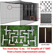 SELECT Golf Hitting Net, Baffle, and Golf Net Target with DIY Frame Corners - 3m Poles NOT Included