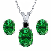 4.65 Ct Oval Green Simulated Emerald 925 Sterling Silver Pendant Earrings Set
