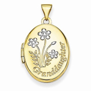 "14K Yellow Gold Flowers Design Reverse ""A Granddaughter is one of lifes greatest treasures"" 21mm Oval Locket Pendant"