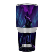 Skin Decal Vinyl Wrap for RTIC 890ml Tumbler Cup (6-piece kit) / Wolf in glowing purple background