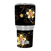 Skin Decal Vinyl Wrap for RTIC 890ml Tumbler Cup (6-piece kit) / glowing flowers abstract