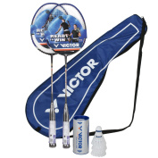 Victor V-3700 Magan Graphite 2 Player Set - 2 Racquets, 1 Bag & 3 Shuttlecocks - Black / Blue / White