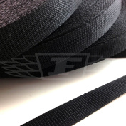 BLACK 50mm POLYPROPYLENE WEBBING STRAPPING, BAGS, STRAPS, WEAVE