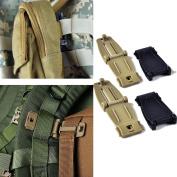 Wynoz Buckles Strap Clip Belt Keeper for Molle Bag Camp Hiking Webbing Black/Khaki Pack of 4