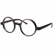Kids Childrens Wizard Nerd Round Black Frame Glasses, Clear Lens
