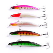 5pcs Lot Plastic Wobbler Laser Minnow Fishing Lure Bait Bass Crankbait Fishing Tackle 11.5cm/14g Lures Baits