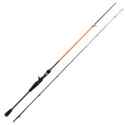 JOHNCOO 2.1m Carbon Baitcasting Rod M Tip Lightweight 2 Section Portable Fishing Rod Fast-Action Graphite Pole Casting