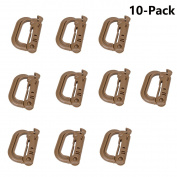 XTACER Tactical Multipurpose Small D-Ring Locking Hanging Hook Tactical Link Snap Keychain Button Release for Molle Webbing