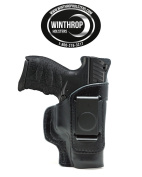 Walther CCP 9cm Barrel IWB CCW Single Spring Clip Leather Holster with Body Shield R/H Black - 1162