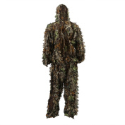 Zicac Outdoor Adults Military 3D Leafy Leaves Ghillie Poncho Camo Cape Cloak Camouflage Clothing Jungle Professionals Woodland Stalking Hunting Paintball Airsoft Ghillie Jacket Suit Free Size