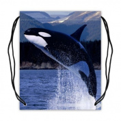 Funny & Cute Orca Killer Whales Basketball Drawstring Bags Backpack, Sports Equipment Bag - 42cm (W) x 49cm (H), Twin-sided Print