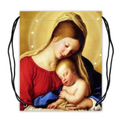 Virgin Mary and Baby Jesus Basketball Drawstring Bags Backpack, Sports Equipment Bag - 42cm (W) x 49cm (H), Twin-sided Print
