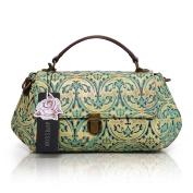 Aphison Designer Unique Embossed Floral Cowhide Leather Vintage Style Women's Handbag