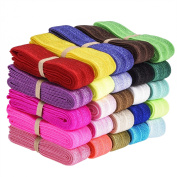 eBoot 25 Pieces Elastic Stretch Foldover Elastics Hair Ties Headbands, 25 Colours, 100cm by 3/ 13cm