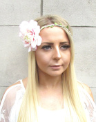 Large Blush Pink White Dahlia Flower Headband Hair Crown Festival Garland 1543 *EXCLUSIVELY SOLD BY STARCROSSED BEAUTY*