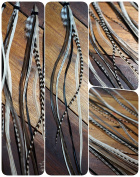 Pack of 6 Feather Hair Extension Medium 20 - 28 cm, Black & White